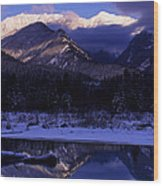 Cabinet Mountain Winter Wood Print
