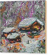 Cabins In The Snow Modern Expressionism Wood Print