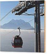 Cable Car Above The Andes Wood Print