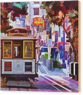 Cable Car At The Powell Street Turnaround Wood Print