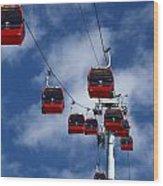 Red Line Cable Car Gondolas Bolivia Wood Print