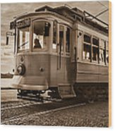 Cable Car In Porto Portugal Wood Print