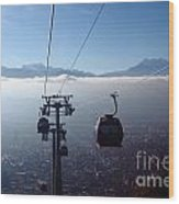 Cable Cars Over La Paz City Wood Print