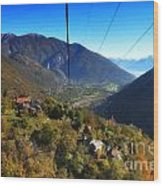 Cableway Over The Mountain Wood Print