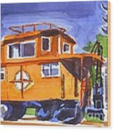 Caboose With Silver Signal Wood Print