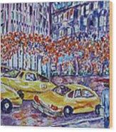 Cabs New York Wood Print