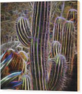 Cacti Lights Wood Print