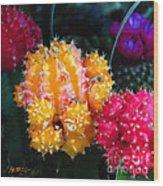 Cacti Watercolor Effect Wood Print