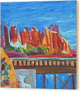 Cacti With Red Rocks And Rr Trestle Wood Print