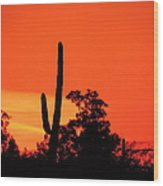 Cactus Against A Blazing Sunset Wood Print