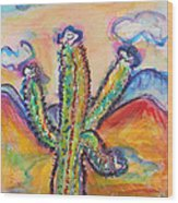 Cactus And Clouds Wood Print