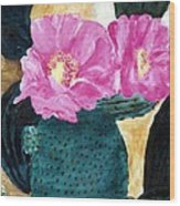 Cactus And The Pink Flower Wood Print