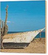 Cactus On A Beach Wood Print