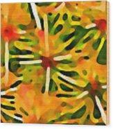 Cactus Pattern 3 Yellow Wood Print by Amy Vangsgard