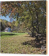 Cades Cove House And Fall Colors Wood Print