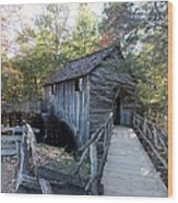 Cade's Cove Mill In The Fall Wood Print