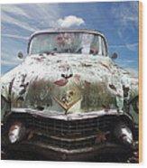 Cadillac At The Beach Wood Print