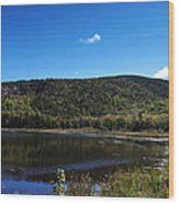 Cadillac Mountain And Lake In Acadia National Park Wood Print