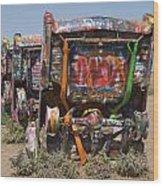 Cadillac Ranch Along Route 66 Wood Print