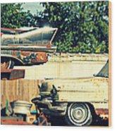 Cadillacs In Decay Wood Print