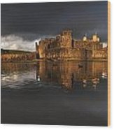 Caerphilly Castle Reflection Wood Print