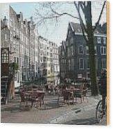Cafe Amsterdam Wood Print