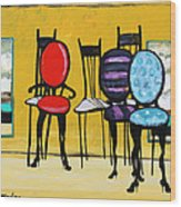 Cafe Chairs Wood Print