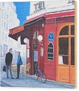 Cafe Des Musees Paris Wood Print