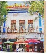 Cafe En Guanajuato Wood Print by Matthew Green