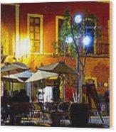 Cafe Evening Wood Print