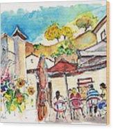 Cafe In Barca De Alva Wood Print