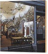 Cafe Italiano Night Usa Wood Print