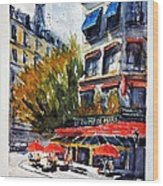 Cafe Le Champ De Mars Wood Print