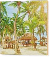 Cafe On Tropical Beach  Wood Print