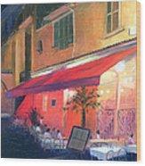 Cafe Scene Cannes France Wood Print