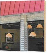 Cafe Seaside Wood Print