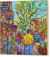 Cafes In Springtime Wood Print