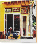 Caffe Ciao Wood Print