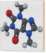 Caffeine Molecular Model Wood Print