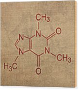 Caffeine Molecule Coffee Fanatic Humor Art Poster Wood Print