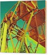 Caged Ferris Wheel Wood Print