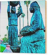 Cahuilla Women Sculpture In Palm Springs-california  Wood Print
