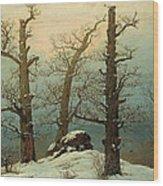 Cairn In Snow Wood Print