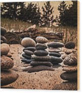 Cairn Whitefish Point Michigan Wood Print