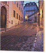 Calcada Da Gloria Street At Dusk In Lisbon Wood Print