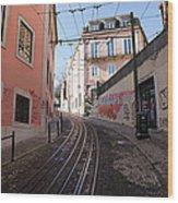 Calcada Da Gloria Street In Lisbon Wood Print
