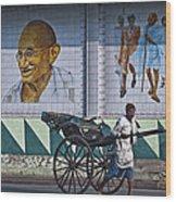 Calcutta - Rickshaw Passing Mahatma Gandhi Rd Metro-station Wood Print