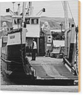 Caledonian Macbrayne Mv Canna Ferry With Vehicle Boarding Ramp Lowered Rathlin Island Pier Harbour N Wood Print