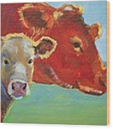 Calf And Cow Painting Wood Print