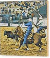 Calf Ropers Wood Print